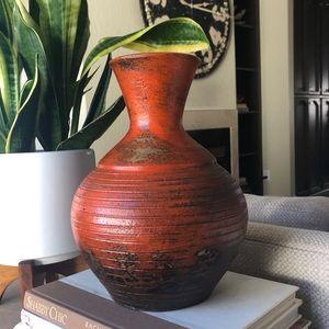 Fire Glazed Pottery Vase Orange Boho Vessel